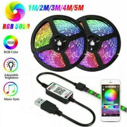 LED Strip Lights TV-bakgrundsbelysning 5050 RGB Color Laddare Bluetooth 5 M