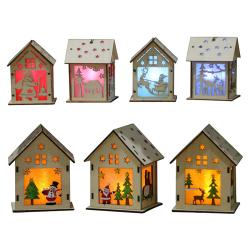 Lysande trähus hem julgran dekoration DIY gåva deer L