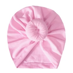 Nyfödd Baby Kid Turban Bowknot Head Wrap Spädbarn Flickhatt Mjuk Pink