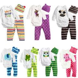 Nyfödda spädbarn baby pojkar flickor långärmad romper toppar byxor hatt Green 0-6 Months