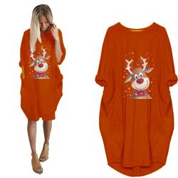 Plus Size Womens jultryckta klänning Xmas Casual Long Tops Orange Red XL