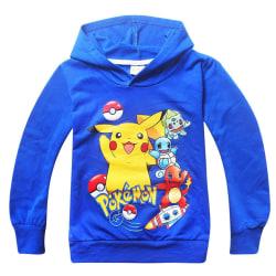 Barn Pojkar Barn Sport Casual Bomull Ytterkläder Blue Tops Hoodie Blue 100