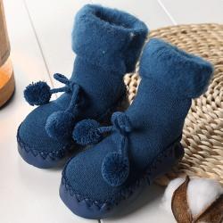 Småbarn Baby Boy Girls Anti-Slip Boot Socks Winter Autumn Soft Navy blue 13CM