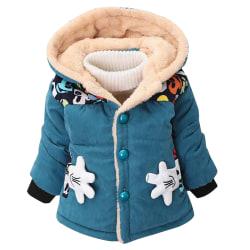 Småbarn Baby Boy Girls Mickey Hooded Coat Fodrad jacka Ytterkläder Blue Green 2-3 Years