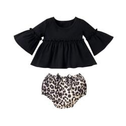 Småbarn Baby Girls Långärmad Ruffle Leopard Shorts Outfit Set Black Tops + Leopard Shorts 12-18 Months
