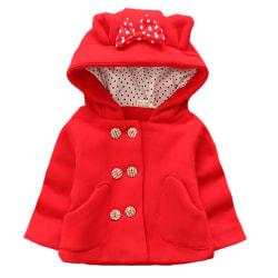 Småbarn Baby Kid Girls Ear Hooded Winter Warm Long Sleeve Jacket Red 0-1 Years