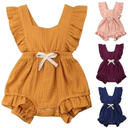 Småbarn Girl Belt Cotton Ruffle Jumpsuit Pink 90 cm