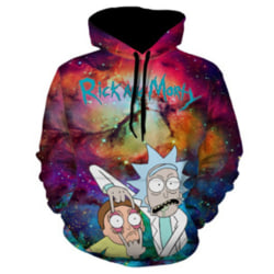 Unisex 3D-tryckt Rick Morty Hoodie Sweatshirt Pullover Jumper L