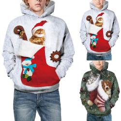 Vinterkatt Hundtryckt tröja Barnjul white M