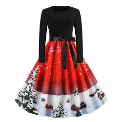 Kvinnors julfest långärmad bälte Vintage A-linjeklänning red L