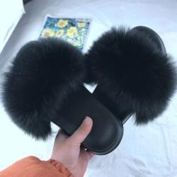 Kvinnor Lady Flat Faux Fur Fluffy Tofflor Sandaler Flip Flop Shoes black 38-39