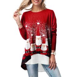 Kvinnor långärmad jul söt tryck topp red L