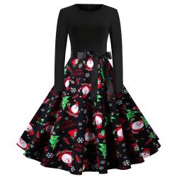 Långärmad dam Rockabilly Party Dam Retro klänning för kvinnor JY14947XXL 2XL