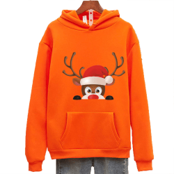 Kvinnor långärmad jul Xmas Ren par Hoodie tröja Orange L