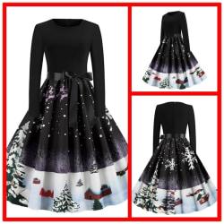 Kvinnor Retro mode långärmad klänning damer black 2XL