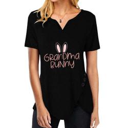 Kvinnors avslappnade påsktryck kortärmad festivaltopp-t-shirt black M