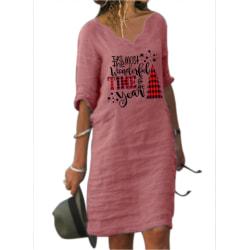 Kvinnors jul Santa Xmas Print kortärmad midiklänning lös Pink 2XL