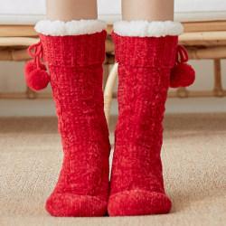 Kvinnors fleecestrumpor Sherpa Lining Lounge Slipper Floor Bed Strumpor Wine Red