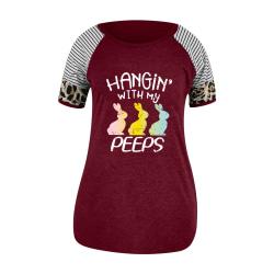 Kvinnors kortärmade påsk T-shirt Crew Neck lösa toppar blus Wine Red XL
