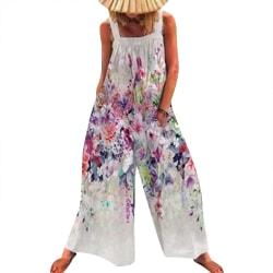 Dam Strappy Retro Printed Long Wide Leg Pants Playsuit Summer White 2XL