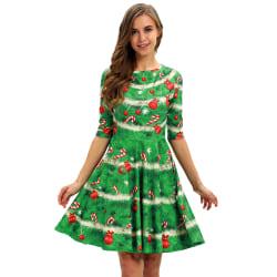 Womens Xmas Christmas Party Dress Holiday Half Sleeve Dresses green XL