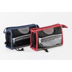 Blå prisvärd sminkväska med ficka på utsidan blå/grå 17x11x5 cm