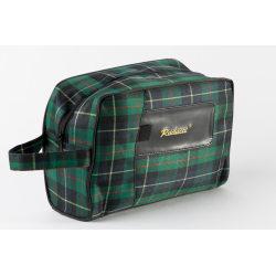 Prisvärd grön necessär till honom skotskrutig 26x18x9 cm