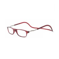 Justerbara Läsglasögon (Magnet) Vinröd 2.5