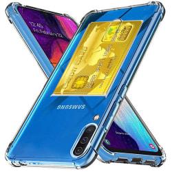 Samsung Galaxy A70 - Stötdämpande Silikonskal med Korthållare Transparent/Genomskinlig
