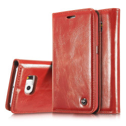 CASEME Fodral med Kortfack för Samsung Galaxy S6 Edge Röd