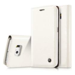 Elegant Fodral med Korthållare för Samsung Galaxy S6 Edge Vit