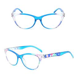 Eleganta Bekväma Läsglasögon (Blommiga) Blå 1.0