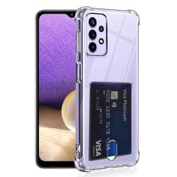 Samsung Galaxy A32 - Praktiskt Stötdämpande Skal med Korthållare Transparent/Genomskinlig