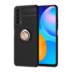 Huawei P Smart 2021 - Effektfullt Skyddsskal med Ringhållare Svart/Roséguld