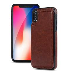 iPhone XR - NKOBEE Läderskal med Plånbok/Kortfack Brun