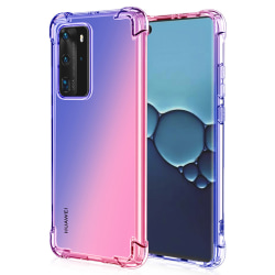 Huawei P40 Pro - Stilsäkert Silikonskal Blå/Rosa