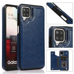 Samsung Galaxy A12 - Elegant Praktiskt Skal med Korthållare Marinblå