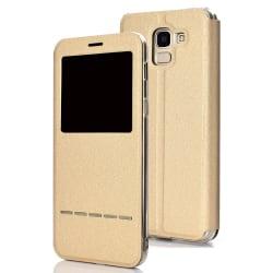 Samsung Galaxy J6 2018 - Exklusivt Fodral Fönster Svarsfunktion Guld Guld