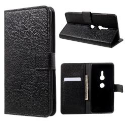 Sony Xperia XZ2 Plånboksfodral Litchi - Svart Svart