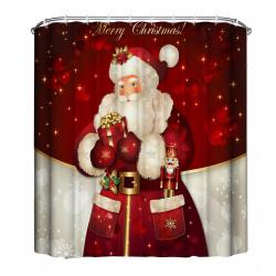 Duschdraperi - Santa Claus Röd