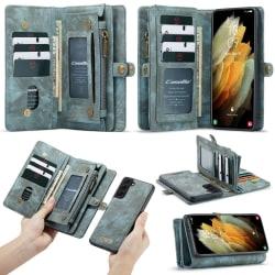 CASEME Samsung Galaxy S21+ (Plus) Retro läder plånboksfodral Blå Blå