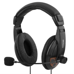 DELTACO headset, sluten, volymkontroll på kabeln, 2x3,5mm, 2m Svart
