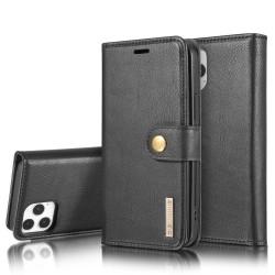 DG.MING iPhone 12 / 12 Pro Split Läder Plånboksfodral - Svart Svart