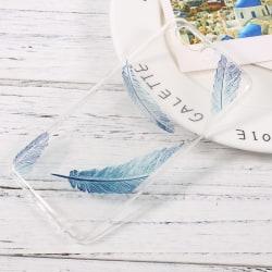 Huawei P10 Soft Gel TPU skal - Blue Feathers Transparent