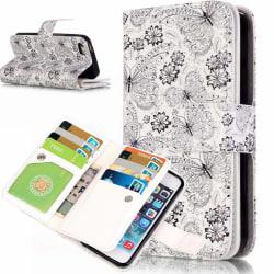 iPhone 5c Fodral 9 Kortplatser Flowers and Butterflies