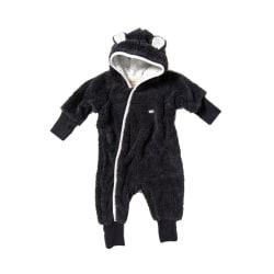 Newborn Babyoverall i långhårig fleece - Mörkgrå DarkGrey 68 / Mörkgrå med offwhite mönstrat f