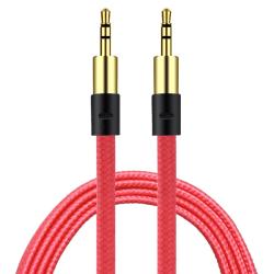 AUX Kabel 3.5mm    Guld pläterad   slittålig kabel RÖD