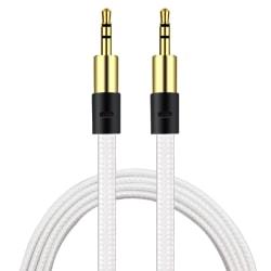 AUX Kabel 3.5mm    Guld pläterad   slittålig kabel VIT