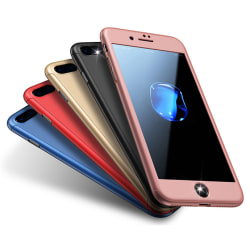 iPhone 8 PLUS + |360° 3in1 FullCover Skal + 0.26mm 9H STARK GLAS Röd