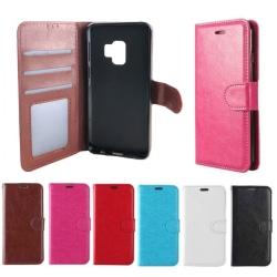Plånboksfodral Samsung S9 PLUS + |LÄDER |3 kort +ID| ALLA FÄRGER svart